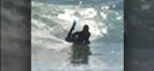 Do the bottom turn for bodyboarding