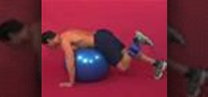 Exercise with the glute kickback on ball with weight