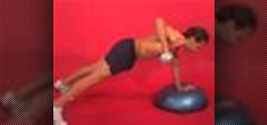 Exercise 1 arm dumbbell plank row w/hand on bosu