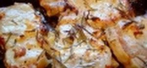 Roast pork chops with fresh rosemary and garlic