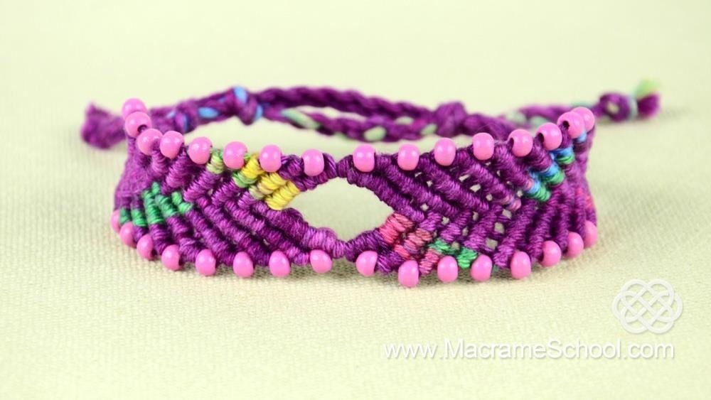 Chevron Style Bracelet with Diamond and Beads