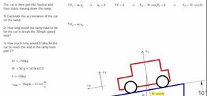 Calculate the acceleration of a car on inclined plane