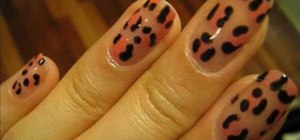 Create pale pink leopard print nails