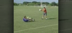 Use the soccer ball to break your fall