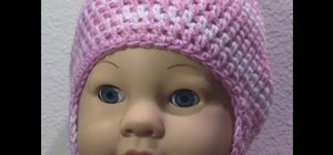 Crochet a two tone baby cap with ear flaps