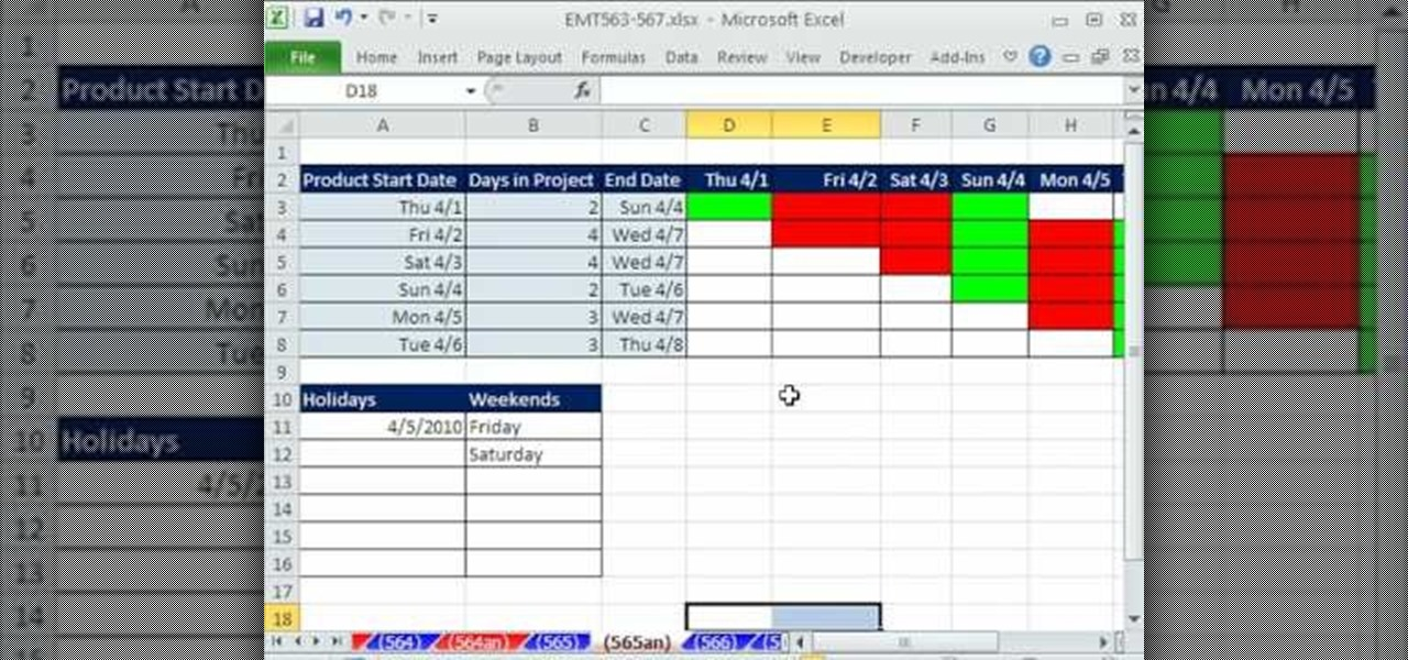 How To Create An Excel Gantt Chart By Conditional Formatting Microsoft Office Wonderhowto