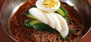 Make cold Korean buckwheat noodles (naeng myun)