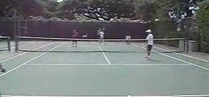 Practice a doubles drill called poaching in tennis