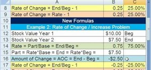 Solve for rate of change in Microsoft Excel