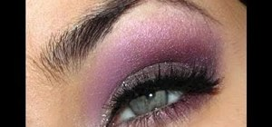 Create a dramatic purple Victoria's Secret Alessandra Ambrosio makeup look
