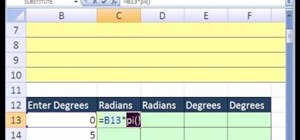 Convert degrees to radians with Excel's trig functions
