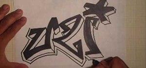 Draw the word Uzi in graffiti script
