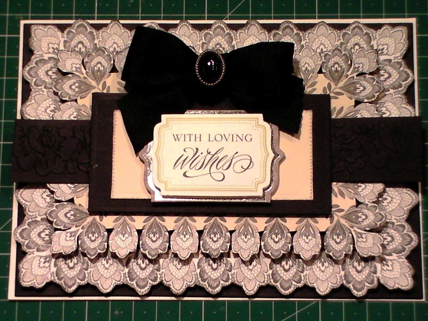 How to Make a Black & Cream Fancy Without Flowers Card