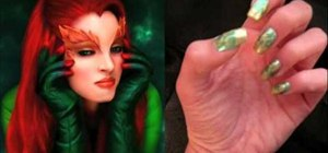 Create Poison Ivy theme nail art