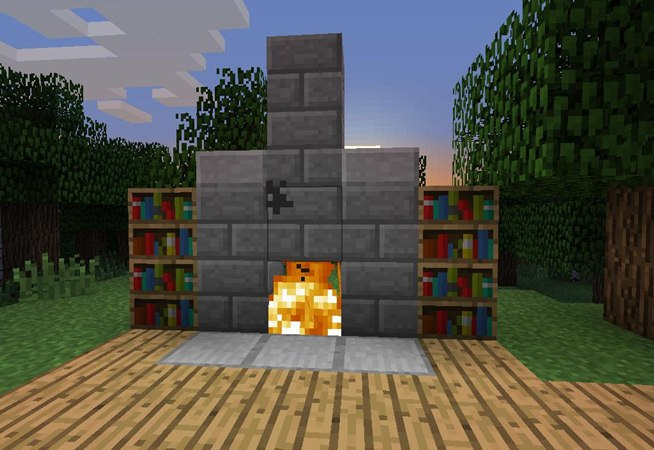 How To Build A Fireplace In Minecraft Pe Creative