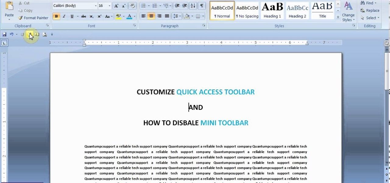 Customize Quick Access Toolbar in MS Word