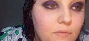 Do a black, purple, and white polka dottie eye makeup