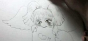 Draw a shy chibi angel character