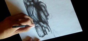 Draw a moonlit waterfall with a graphite pencil