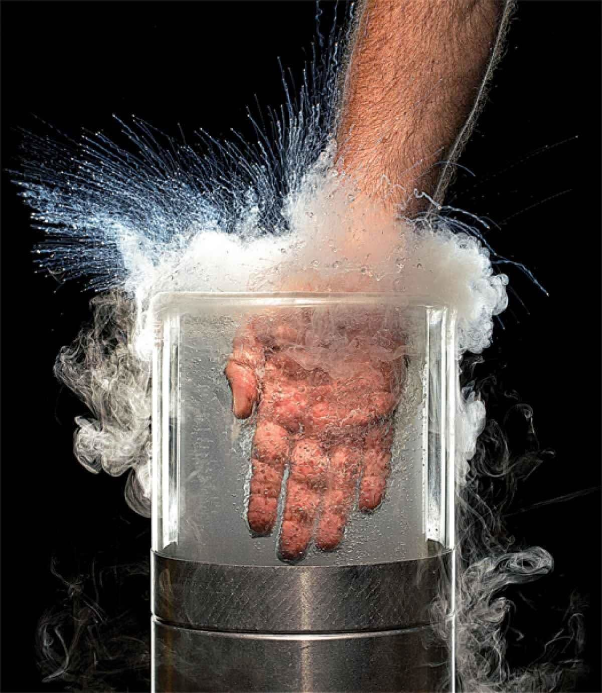 Hand Fully Submerged in Liquid Nitrogen (OUCH... Right?)