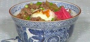 Make Gyudon (Japanese beef rice bowl)