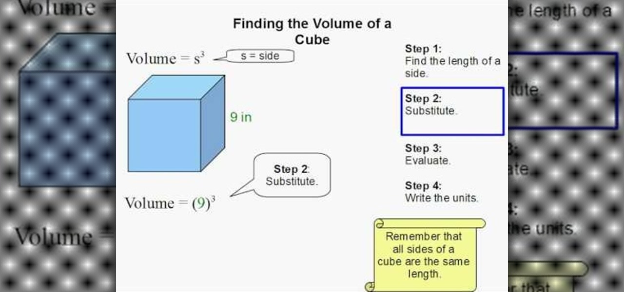 how to find volume of a cube with area