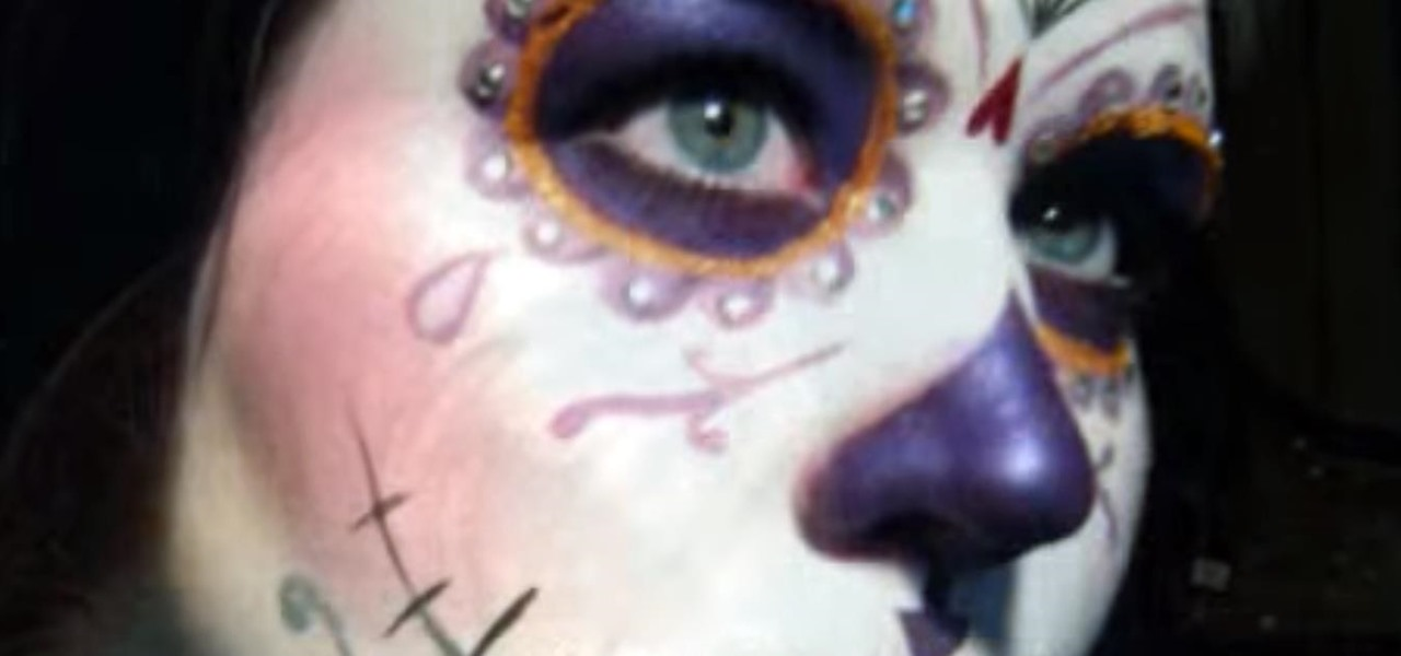 Apply a Purple Sugar Skull Makeup Look