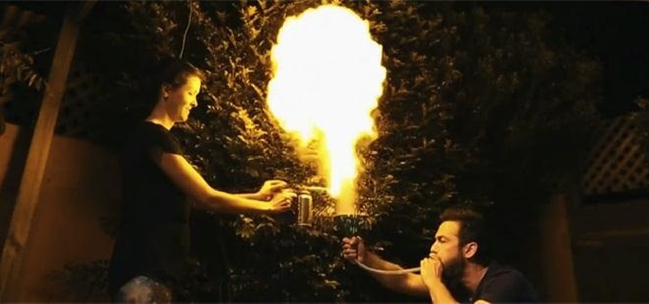 Use a Funnel and Butane Torch to Make a Huge Corn-Flour Fireball
