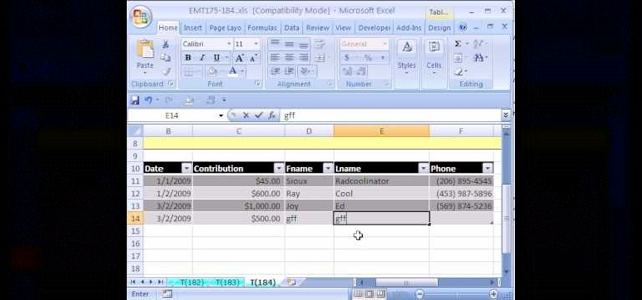how to create a simple database in excel with a list or table