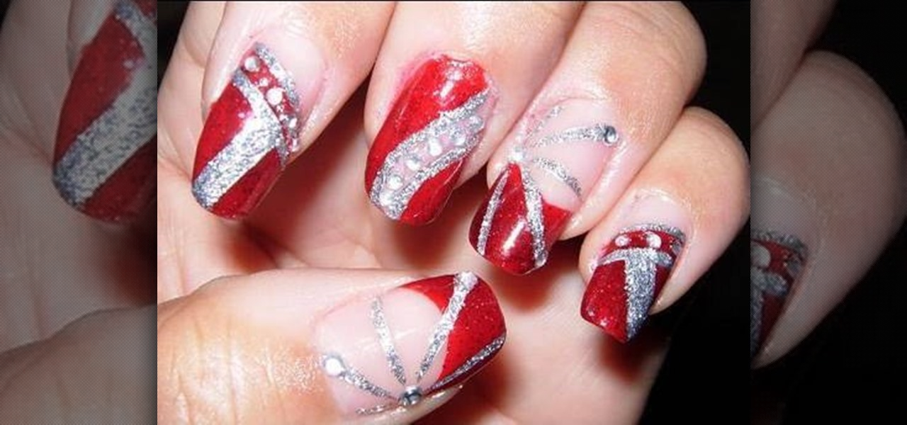 How To Apply Red Silver And Glitter Nail Polish Nails Manicure WonderHowTo