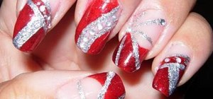 Apply red, silver, and glitter nail polish