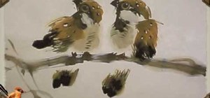 Draw two sparrows - Chinese brush painting