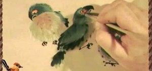 Draw three raggedy parrots - Chinese brush painting