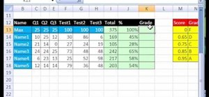 Make a gradebook based on percentage scores in Excel