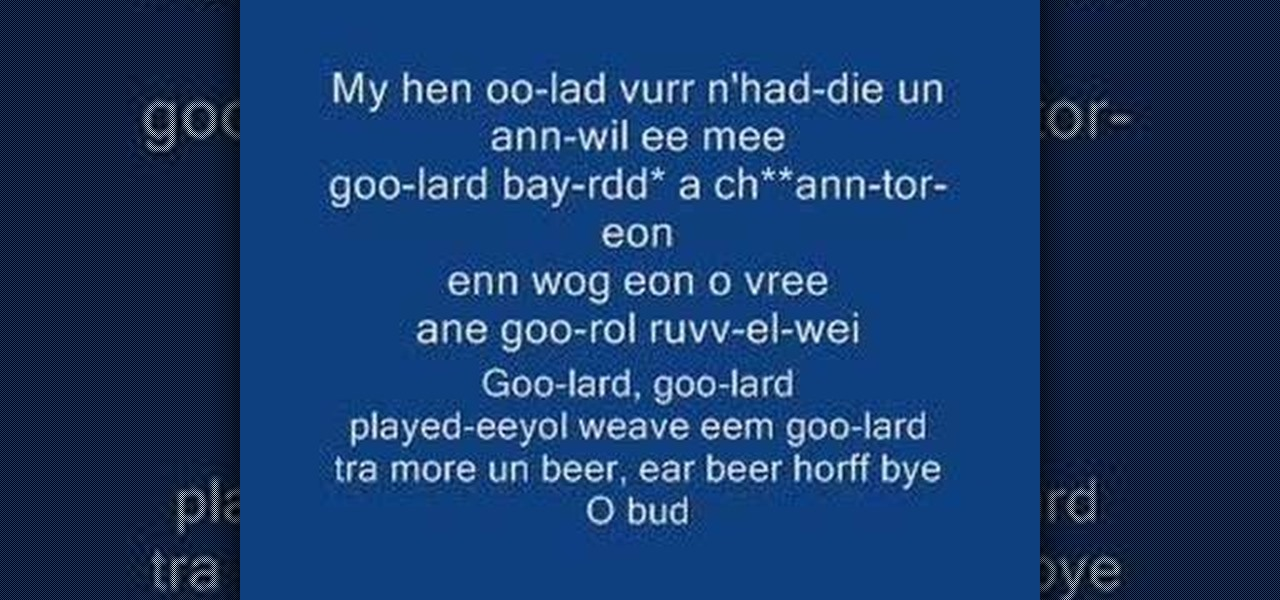 How to Sing the Welsh national anthem « Other Languages