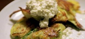 Make fresh zucchini pancakes topped with ricotta