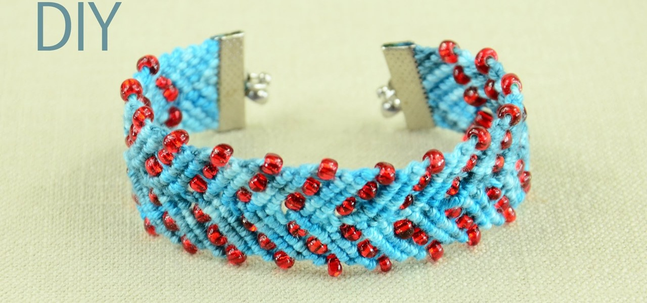 Chevron Design Bracelet with Beads - Tutorial