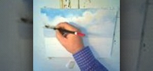 Paint a blue sky with clouds using watercolors