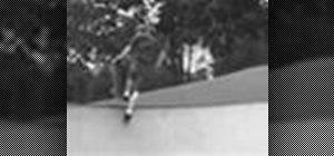 Do skateboard backside disasters at a skatepark