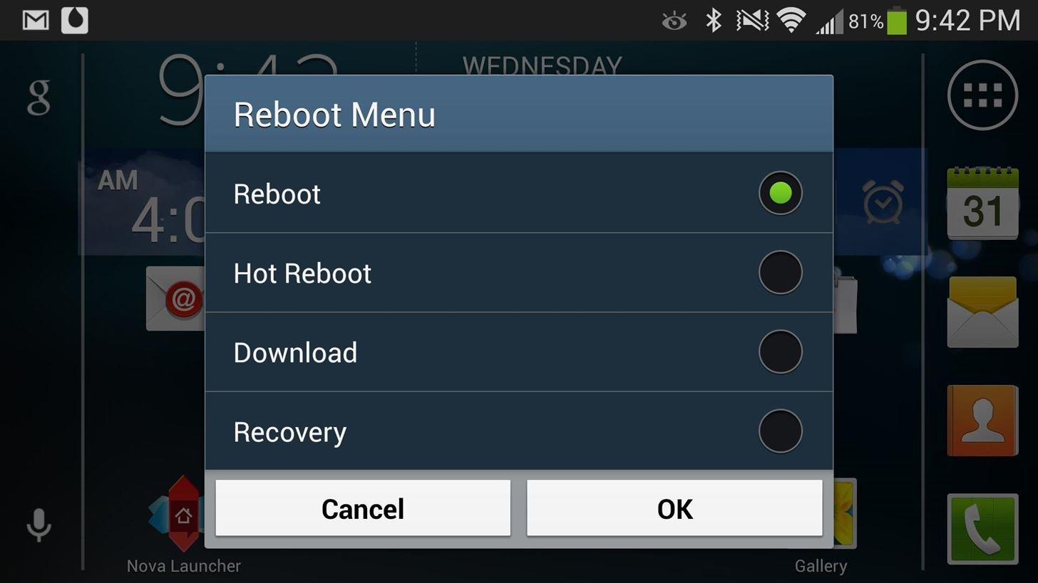 How to Restart into Recovery or Download Mode Right from Your Samsung Galaxy S4's Reboot Menu