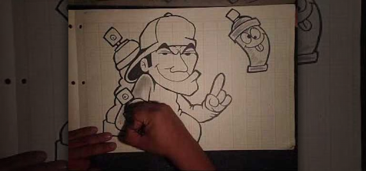 how to draw a graffiti artist holding animated spray cans. Black Bedroom Furniture Sets. Home Design Ideas