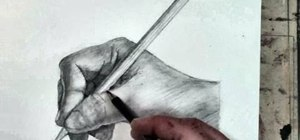 Sketch a human hand holding a pencil drawing
