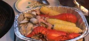Barbecue lobster, clams, and shrimp