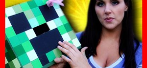 Make a Minecraft creeper head costume out of a cardboard box