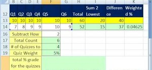 Find a weighted percent dropping 2 scores in MS Excel