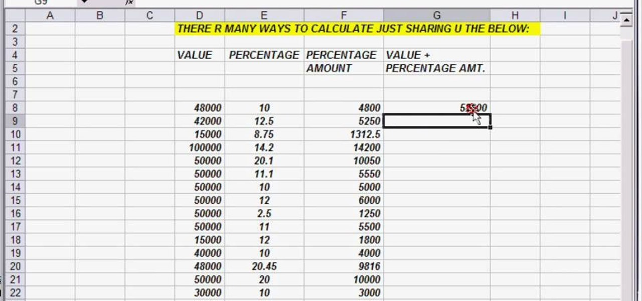 How to Reduce a column of numbers by a percentage in Excel ...