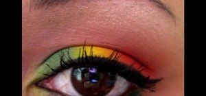 Apply rasta girl colored eyeshadow