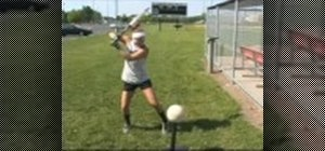 Do a softball hitting drill with a flat volleyball