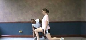 Do a front lunge exercise to for a quads, glutes and hamstring workout