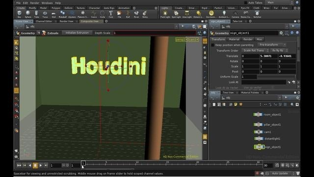 Create and render a glowing neon sign in Houdini - Part 1 of 2